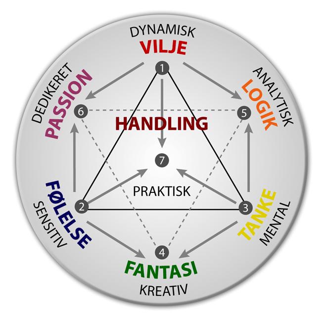 Energipsykologiens syv psykologiske funktioner. Cirkeldiagrammet