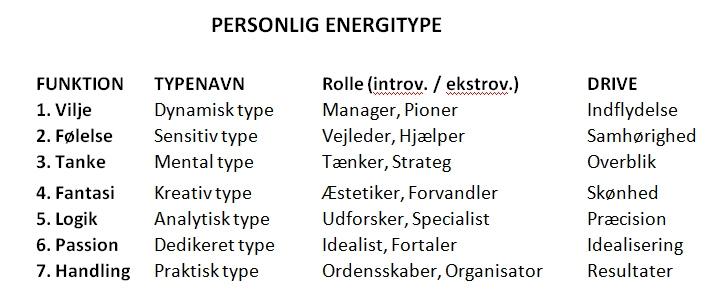 De personlige energityper